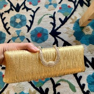 New beautiful party clutch purse golden stone